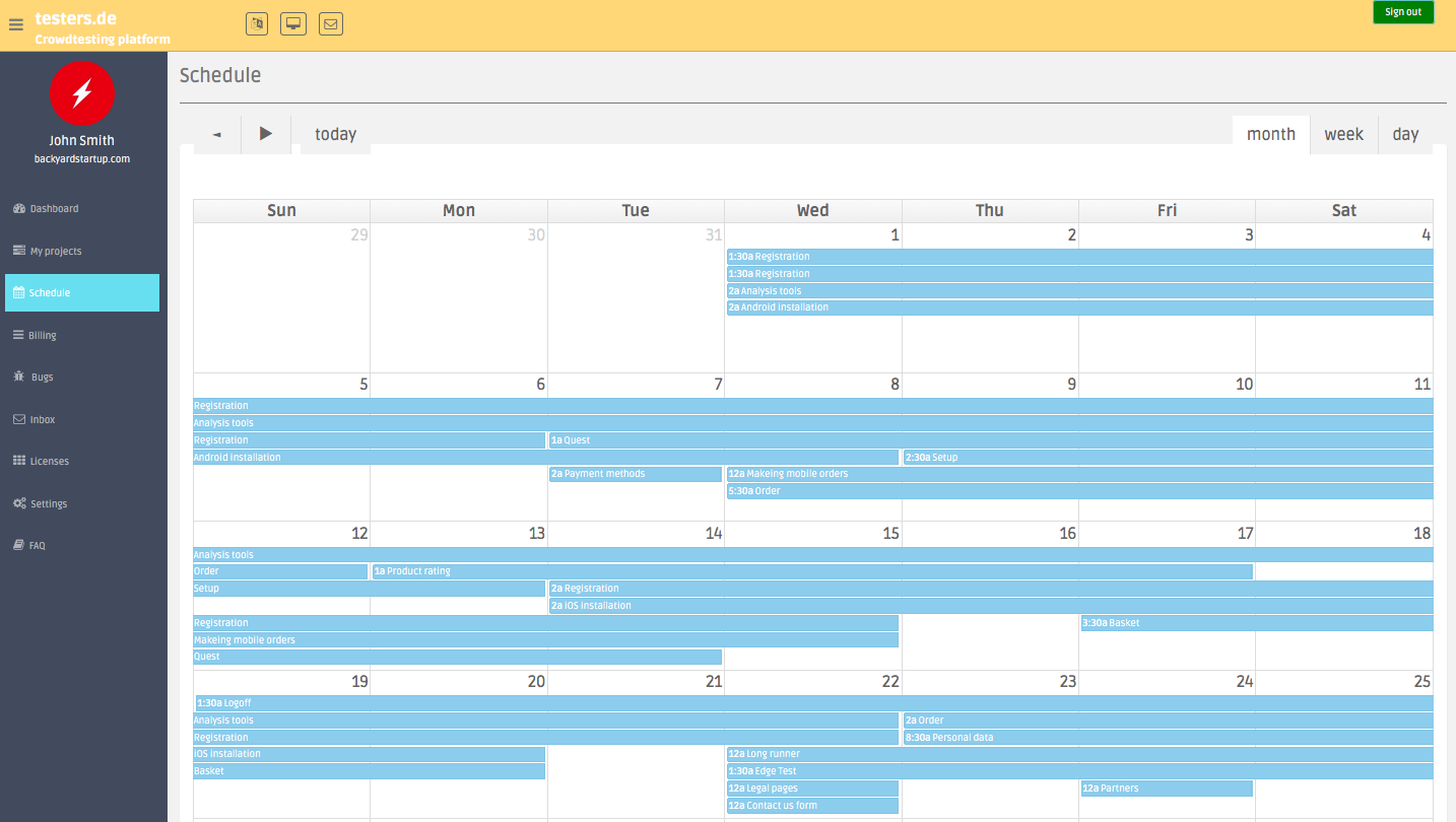 Plan your tests with the scheduling tool